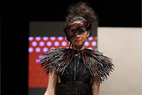 One of Poto Morgan's creations in the Miromoda show (Photo: Chloe Ramsey / 3 News) 
