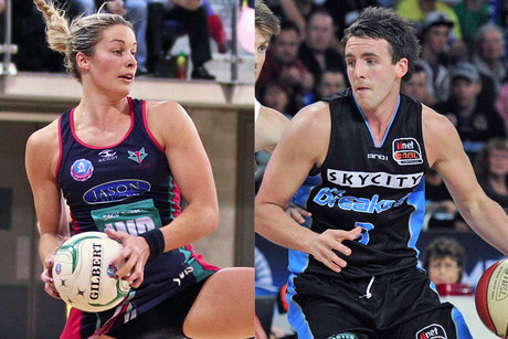Julie Corletto in action for the Vixens and Daryl Corletto for the Breakers (Photosport)