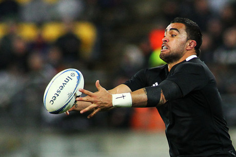 Liam Messam fumbles the ball during the Investec Rugby Championship match, New Zealand All Blacks v Argentina (Photosport)