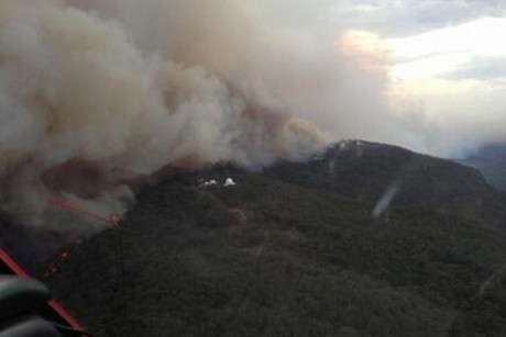 An aerial photo of the Siding Spring Observatory (Photo: Twitter / @NSWRFS)