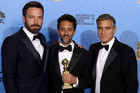 Argo director Ben Affleck with producers Grant Heslov and George Clooney (AAP)