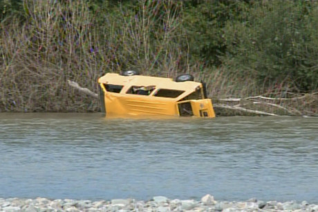 This van, nicknamed 'Jake', floated, flipped and founded when the river flooded