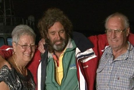 Glenn Ey is reunited with his parents after two weeks at sea 