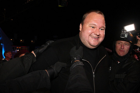 Kim Dotcom launched his new website today with a bash at his Auckland mansion (Getty)