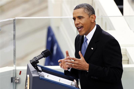US President Barack Obama speaks at his inauguration ceremony in Washington DC (Reuters)