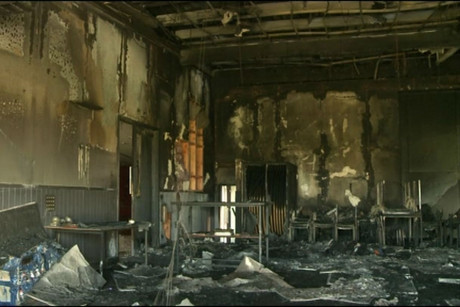 The centre's main function area was burnt out by the fire
