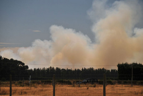 Smoke from the fire is seen above West Melton (Photo: Simon Lewis / WeatherWatch)