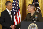 General John Allen (R) with US President Barack Obama in November 2012 (Reuters file)