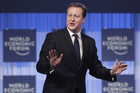 British Prime Minister David Cameron speaks at the World Economic Forum in Davos (Reuters)