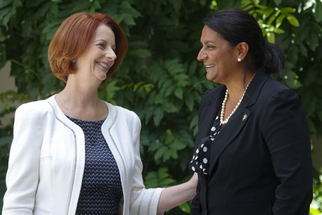 Former Olympic and Commonwealth Games medallist Nova Peris (right) and Prime Minister Julia Gillard (AAP)