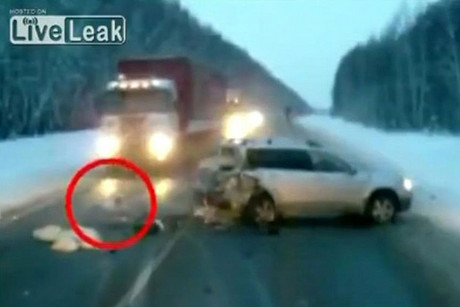 A camera on the dashboard of a following car captured the crash