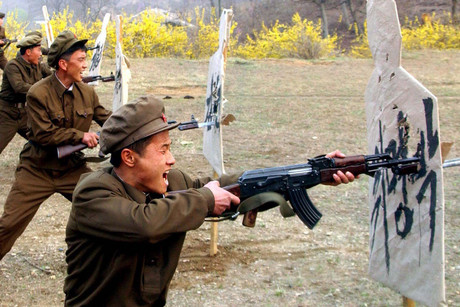 North Korea's civilian army troops, called the Worker-Peasant Red Guards, holding a bayonet drill (AAP)