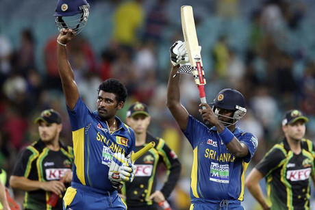 Sri Lanka celebrate the T20 series win (Reuters)