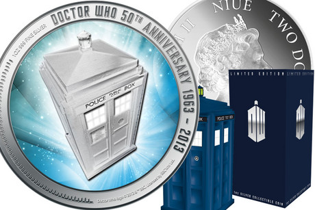 The Doctor Who coin comes in a Tardis box