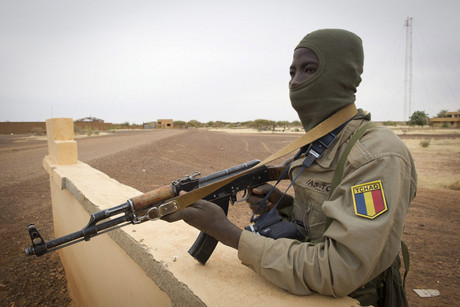 A soldier from Tchad secure the airport in Gao, Mali (AAP)