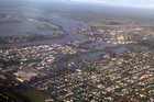 An aerial photograph showing the floodwaters in Bundaberg (AAP)