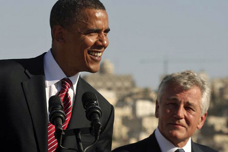 Barack Obama smiles next to Chuck Hagel (Reuters/file)