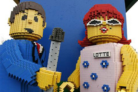A Lego brick sculpture is seen at the entrance to Legoland theme park in Denmark (Reuters)