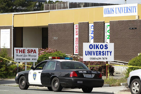 Oikos University after the shooting in April 2012 (Reuters file)