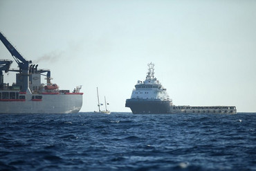 A flotilla of protest ships has been surrounding Anadarko's Noble Bob Douglas about 100 nautical miles of