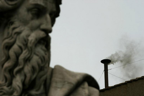 The colour of the smoke from the Sistine Chapel's chimney indicates whether or not a new pope has been chosen (Reuters file)