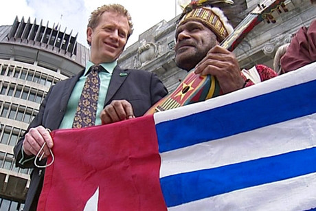 Greens co-leader Russel Norman and West Papuan activist Benny Wenda stand outside Parliament