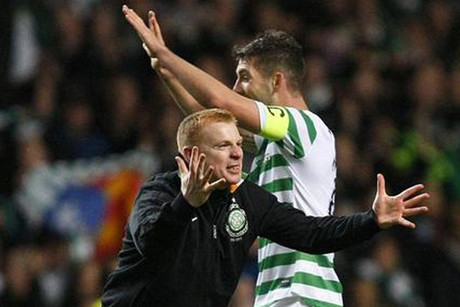 Will Celtic manager Neil Lennon be celebrating with his players at the end of 90 minutes? (Reuters file)
