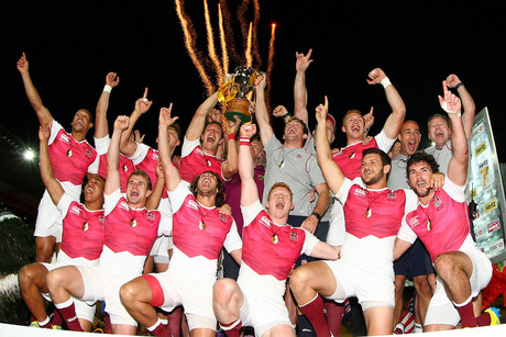 England celebrate winning the Cup Final against Kenya (Photosport)