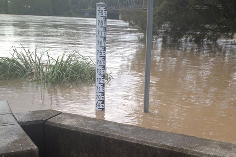 River levels at Grafton peaked near 8.08 metres at about 11:00am, with record major flooding according to the the Bureau of Meteorology (AAP)