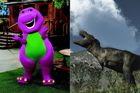 Barney (L) and a more scientific attempt at rendering a T rex