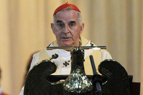The leader of the Roman Catholic Church in Scotland Cardinal Keith O'Brien is seen delivering his Easter Sunday homily at St Mary's Cathedral in Edinburgh, Scotland in this April 4, 2010 file photograph (Reuters)