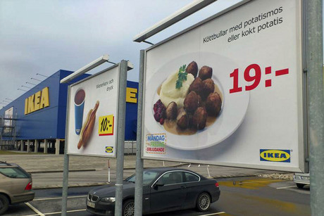 A billboard advertising Ikea meatballs is seen in the parking lot at the Ikea store in Malmo (Reuters)