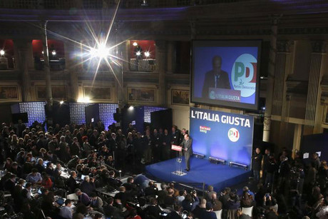 Italian Democratic Party leader Pierluigi Bersani speaks during a news conference in Rome (Reuters)