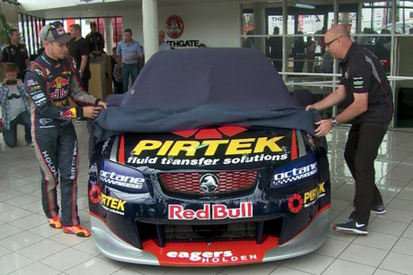 Casey Stoner, left, unveils his new V8 Supercar