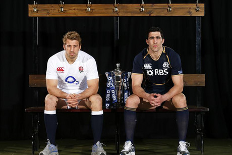 England and Scotland's rugby union team captains Chris Robshaw, left, and Kelly Brown  lucky theres a trophy in between them or theyd likely be scrapping (Reuters)