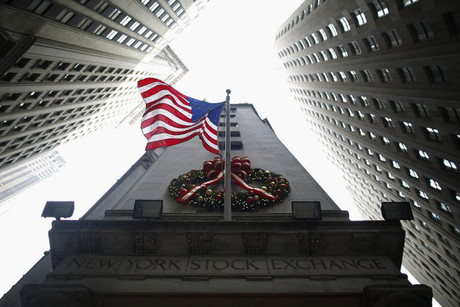 A flag is seen outside the New York Stock Exchange in New York (Reuters)
