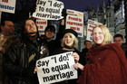 "Campaigners demonstrate for a ""yes"" vote to allow gay marriage (Reuters)"