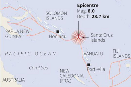 Map locating the epicentre of an 8.0 magnitude quake that struck off Solomon Islands, with tectonic plate lines shown in red (Reuters/USGS)