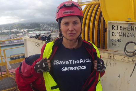 Lucy Lawless aboard the Noble Discoverer in February last year (Photo: Greenpeace)