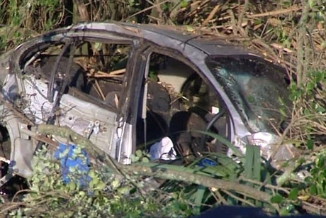 The car crashed into trees just outside Hamilton (Photo: 3 News)