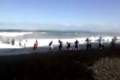 An onlooker filmed the human chain which helped save the teenager