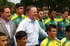 John Key with Brazilian rugby players
