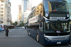 The double-decker bus at Britomart, Auckland CBD (Photo: Will Pollard/3 News)