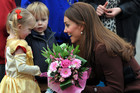 The Duchess of Cambridge meets children on a visit to the Peak Lane Fire Head Quarters in Grimsby (AAP)