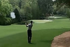 Tiger Woods on the 10th at the Masters