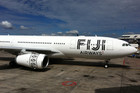 Fiji Airways A330 with its new livery in Auckland today (Dan Lake/3 News)