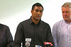 Julian Savea makes a statement on his assault charge yesterday