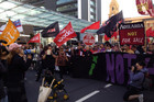 Protesters line Auckland's Queen St this afternoon (Nicole Bremner/Twitter)