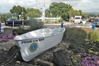 The 10ft plywood dinghy was donated in 2011 as a decoration
