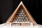 The cardboard cathedral was designed by Japanese architect Shigeru Ban